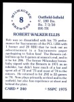 1976 SSPC #240  Rob Ellis  Back Thumbnail