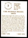 1976 SSPC #278  Reggie Smith  Back Thumbnail