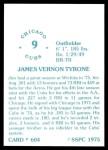 1976 SSPC #604  Jim Tyrone  Back Thumbnail