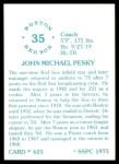 1976 SSPC #625  Johnny Pesky  Back Thumbnail