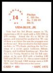 1976 SSPC #481  Vida Blue  Back Thumbnail