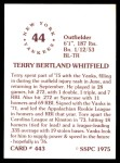 1976 SSPC #443  Terry Whitfield  Back Thumbnail