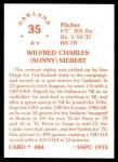 1976 SSPC #484  Sonny Siebert  Back Thumbnail