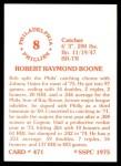 1976 SSPC #471  Bob Boone  Back Thumbnail