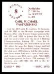 1976 SSPC #409  Carl Yastrzemski  Back Thumbnail