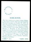 1976 SSPC #611  Karl Kuehl  Back Thumbnail