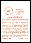 1976 SSPC #466  Ollie Brown  Back Thumbnail