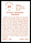 1976 SSPC #486  Stan Bahnsen  Back Thumbnail