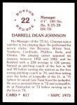 1976 SSPC #417  Darrell Johnson  Back Thumbnail