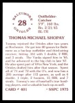 1976 SSPC #401  Tom Shopay  Back Thumbnail