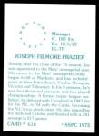 1976 SSPC #610  Joe Frazier  Back Thumbnail