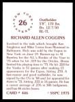 1976 SSPC #446  Rich Coggins  Back Thumbnail