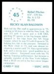 1976 SSPC #552  Rick Baldwin  Back Thumbnail