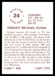 1976 SSPC #408  Dwight Evans  Back Thumbnail