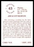1976 SSPC #418  Jim Burton  Back Thumbnail