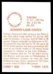1976 SSPC #468  Johnny Oates  Back Thumbnail