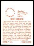 1976 SSPC #516  Rick Cerone  Back Thumbnail
