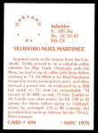 1976 SSPC #499  Ted Martinez  Back Thumbnail