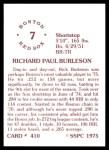 1976 SSPC #410  Rick Burleson  Back Thumbnail