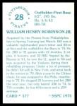 1976 SSPC #577  Bill Robinson  Back Thumbnail
