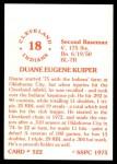 1976 SSPC #522  Duane Kuiper  Back Thumbnail