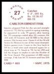 1976 SSPC #403  Carlton Fisk  Back Thumbnail