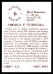 1976 SSPC #413  Rico Petrocelli  Back Thumbnail