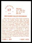 1976 SSPC #483  Dick Bosman  Back Thumbnail