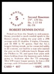 1976 SSPC #407  Denny Doyle  Back Thumbnail