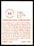 1976 SSPC #512  Jim Strickland  Back Thumbnail