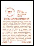 1976 SSPC #507  Roric Harrison  Back Thumbnail