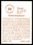 1976 SSPC #525  Frank Robinson  Back Thumbnail