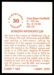 1976 SSPC #523  Joe Lis  Back Thumbnail