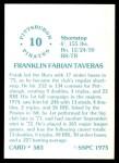 1976 SSPC #583  Frank Taveras  Back Thumbnail