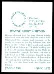 1976 SSPC #599  Wayne Simpson  Back Thumbnail