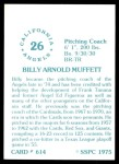 1976 SSPC #614  Billy Muffett  Back Thumbnail