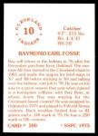 1976 SSPC #500  Ray Fosse  Back Thumbnail