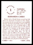 1976 SSPC #411  Bernie Carbo  Back Thumbnail