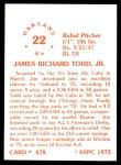 1976 SSPC #478  Jim Todd  Back Thumbnail