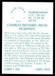 1976 SSPC #587  Rick McKinney  Back Thumbnail