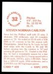 1976 SSPC #459  Steve Carlton  Back Thumbnail