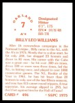 1976 SSPC #496  Billy Williams  Back Thumbnail