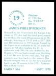 1976 SSPC #566  Jim Rooker  Back Thumbnail