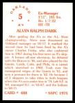 1976 SSPC #488  Al Dark  Back Thumbnail