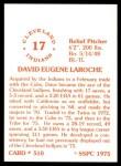 1976 SSPC #510  Dave LaRoche  Back Thumbnail