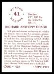 1976 SSPC #422  Dick Drago  Back Thumbnail