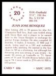 1976 SSPC #406  Juan Beniquez  Back Thumbnail