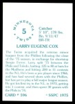 1976 SSPC #596  Larry Cox  Back Thumbnail