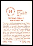 1976 SSPC #461  Tom Underwood  Back Thumbnail