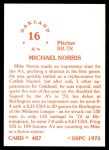 1976 SSPC #487  Mike Norris  Back Thumbnail